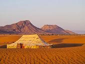 stock photo of nomads  - Oasis and a camp on Zagora desert in Morocco Africa - JPG