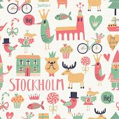 image of gnome  - Stockholm concept seamless pattern in vector - JPG