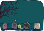 stock photo of dead-line  - Halloween Illustration Featuring Tombstones Lined Up in a Cemetery - JPG
