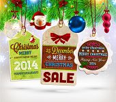 stock photo of candy cane border  - Collection of Vintage Retro Christmas Labels - JPG