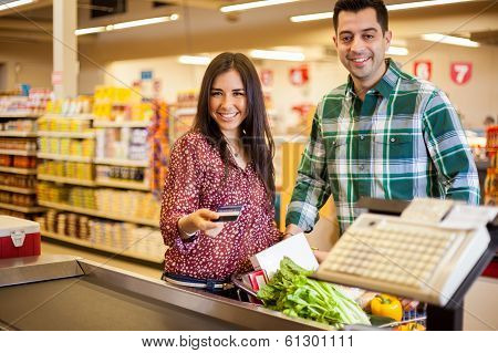 Buying groceries with a credit card