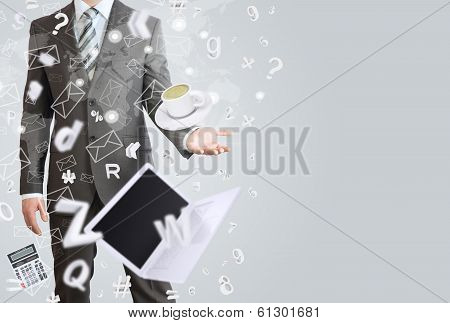 Man in a suit. The concept of office work