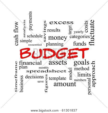 Budget Word Cloud Concept In Red Caps