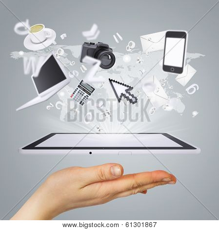 Hand holding tablet pc. Concept electronics