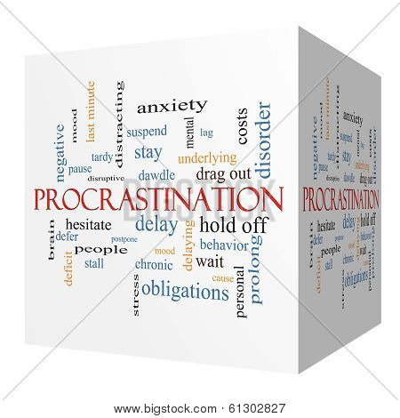 Procrastination 3D Cube Word Cloud Concept