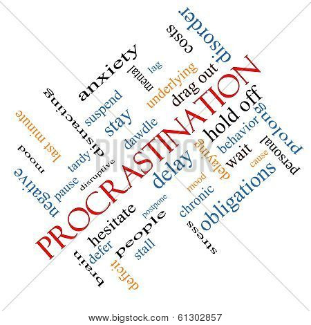 Procrastination Word Cloud Concept Angled