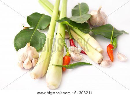 Lemongrass, Garlic, Pepper Isolated,