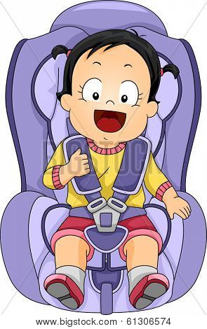 Illustration of a Baby Girl Strapped to a Car Seat