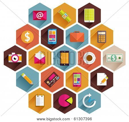 Set of Flat Style Icons. Business, Technology, Mobile Phones and Tablet PC, Infographic and Payments Designs. Long Shadows Web Elements Collection. SEO and Internet Advertising Vector Objects.
