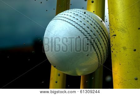 White Cricket Ball And Wickets