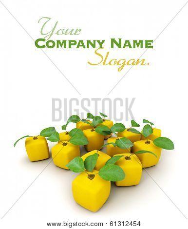3D rendering of a group of cubic lemons