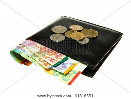 Black leather wallet with Israeli shekel notes