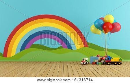 Empty Playroom With Rainbow And Toys