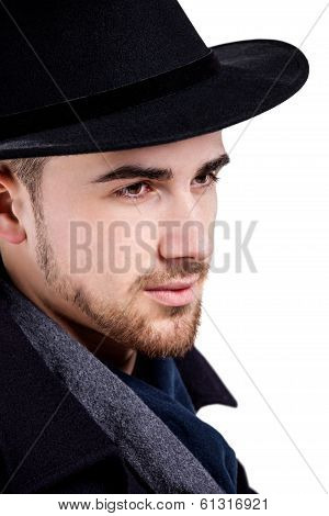 Close up portrait of man wearing hat