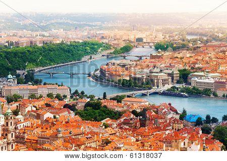 Vltava River And Bridges In Prague