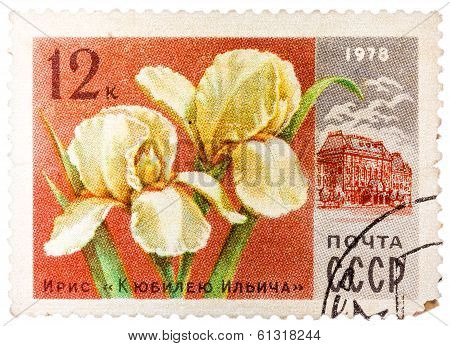 Stamp Printed In Ussr (cccp, Soviet Union) Shows Image Of Ilich Anniversary Iris And Lenin Central M