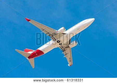 Qantas passenger airplane taking off