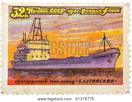 """Stamp Printed In Ussr (russia) Shows A Ship With The Inscription """"baltysky (freighter)"""", From The Se"""