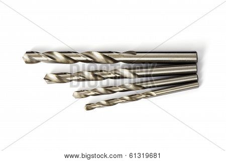 Set Of Drill Bits Isolated In White