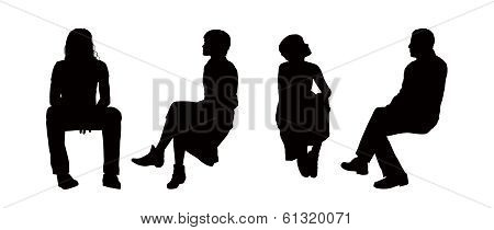 People Seated Outdoor Silhouettes