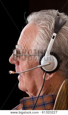 Old Man With Headset