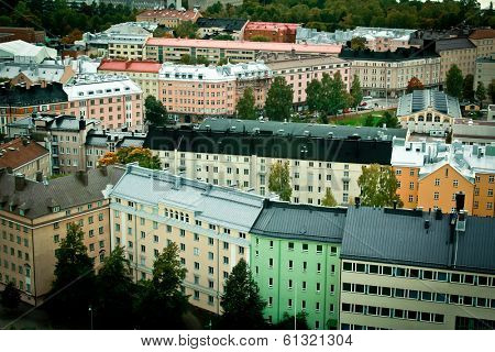 View of colored houses in Helsinki, Finland