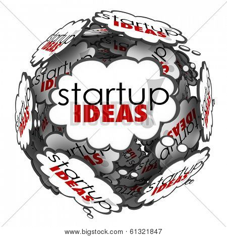 Startup Ideas Thought Clouds Brainstorming New Business Company
