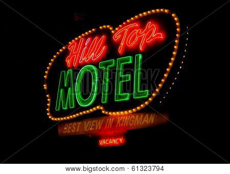 Route 66: Hill Top Motel Neon Sign, Kingman, AZ