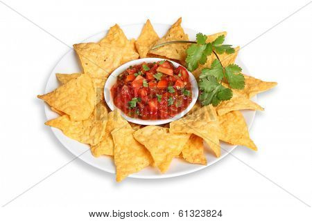 Platter of tortilla chips and salsa cut out on white background