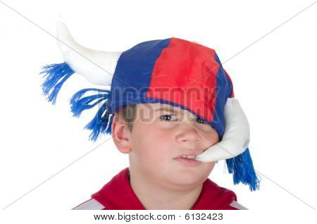 Offended Little Boy In A Fan Helmet
