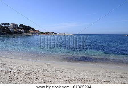 Sand Beach In Bandol, France