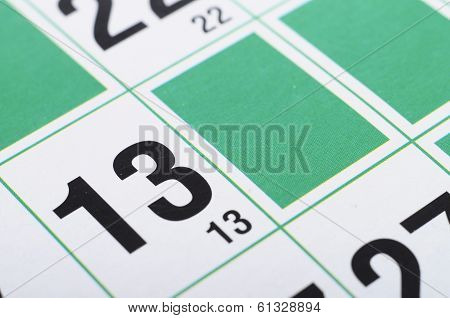 Bingo Cards And Numbers Thirteen
