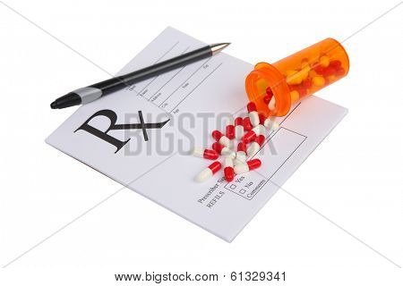 Perscription medicine on white background