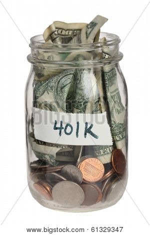 401K savings jar on white background