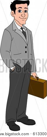 Attractive man in business attire with briefcase