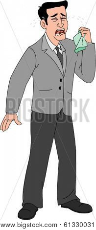 Grown, nicely dressed businessman holding handkerchief & crying