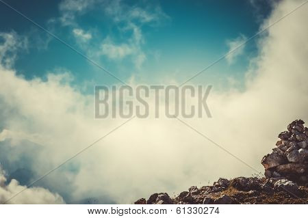 Sky Clouds On Mountain Summit With Stones Hiking Route Mysterious Foggy Scenery Background Aerial Vi