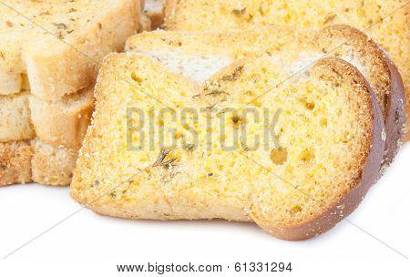 Garlic Bread On A White Background
