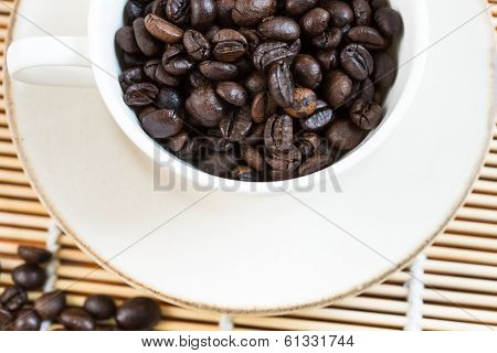 A Cup And Coffee Beans, From Above