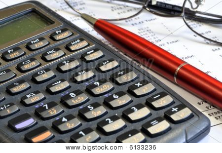 Pen Calculator And Glasses