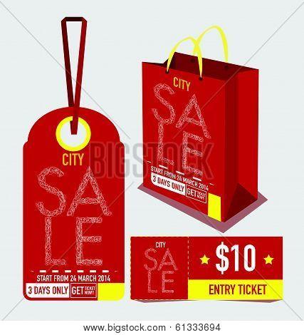 sale tag, paper bag and voucher design templates. vector illustration