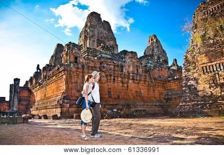 Beautiful young couple at Prasat Pre Roup temple in Angkor wat complex, near Siem Reap, Cambodia.