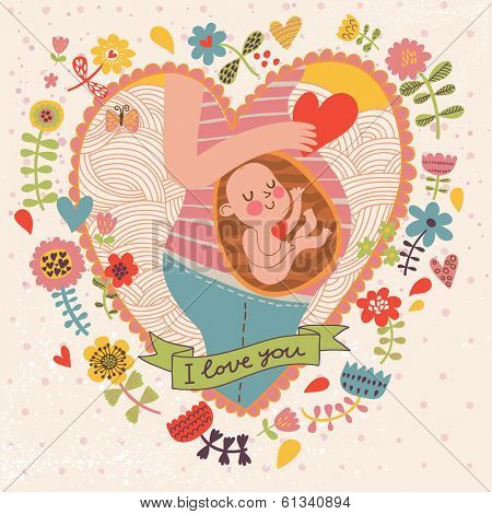 Pregnancy concept card in cartoon style. Baby and mother in love inside hearts and flowers