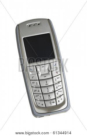 silver cell phone on white