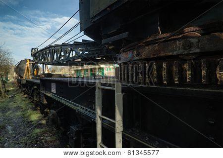 Vintage Old Train Locomotive Crane Equipment