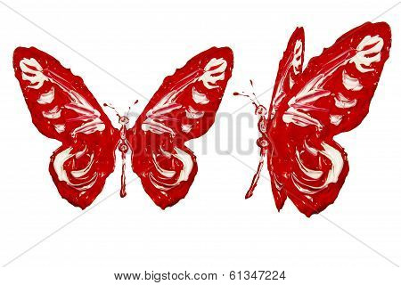 Red White Paint Made Butterfly Set