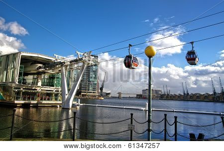 LONDON, UK - MARCH 06, 2014: London's Cable car connecting Excel exhibition centre and O2 arena, two