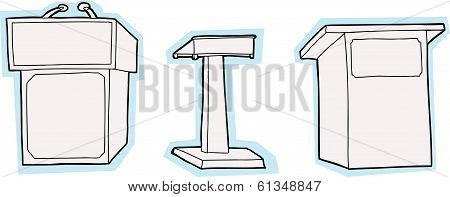 Isolated Lecterns With Blue Edge