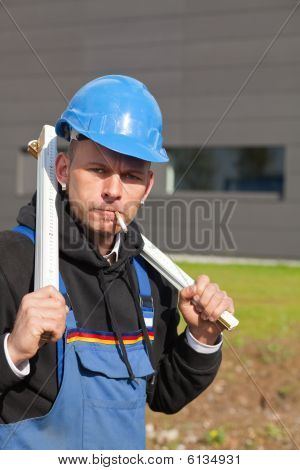 Worker With Foldable Ruler