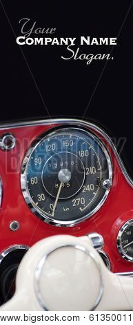 Old automobile red dashboard